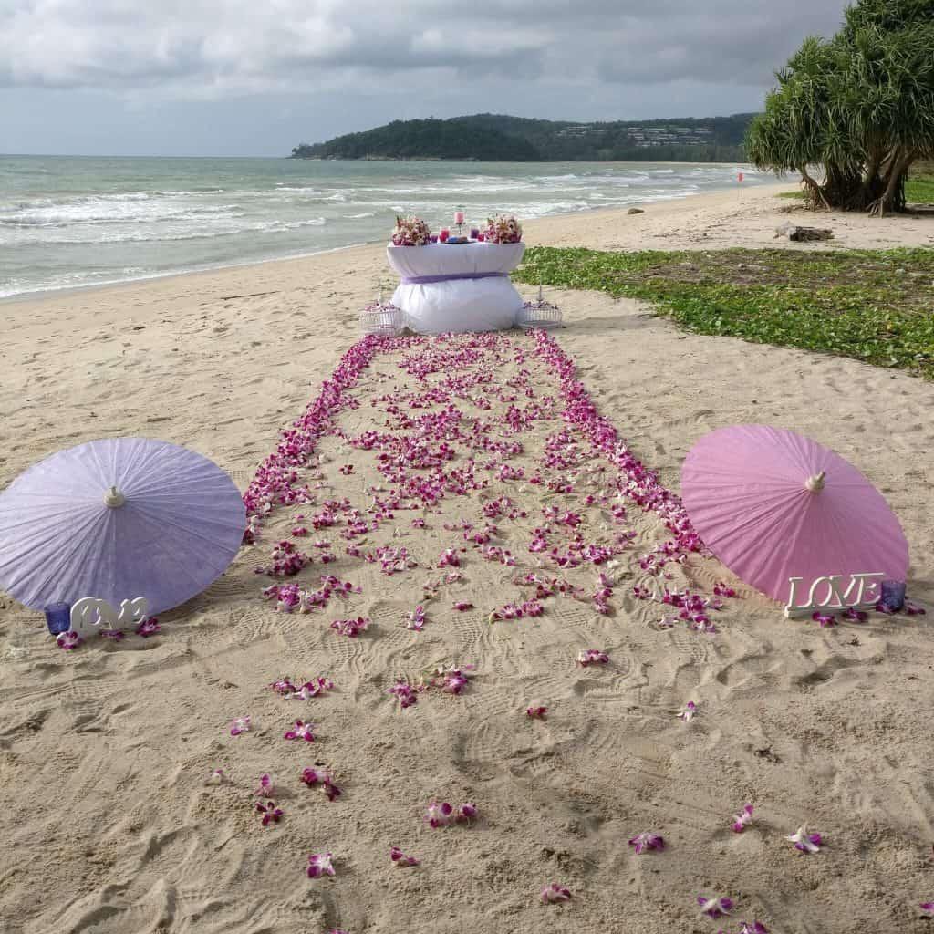 Beach Wedding Ceremony Flowers Phuket Thailand